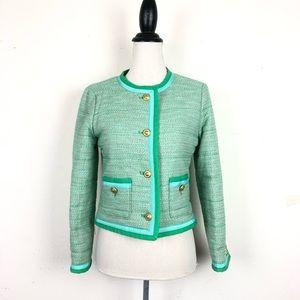 J. Crew spearmint tweed jacket size 4 euc